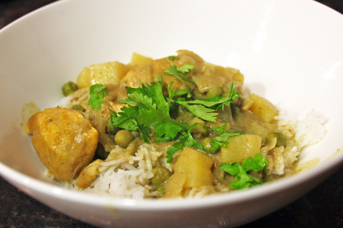 Coconut Curry Chicken with Potatoes and Peas